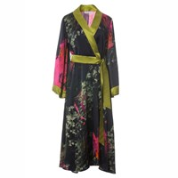 Roses Are Red Sienna Silk Kimono Black Gold Green