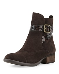 Donald J Pliner Porto Buckle Suede Bootie Dark Brown
