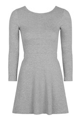 Topshop Lace Up Skater Dress Grey