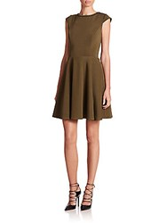 Abs By Allen Schwartz Lace Up Fit And Flare Dress Olive