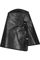 Maison Martin Margiela Wrap Effect Leather Mini Skirt Black