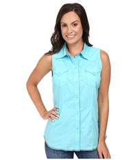 Roper 00456 Solid Poplin Aqua Blue Women's Sleeveless