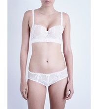 Palindrome Majesty Lace Longline Bra Snow White