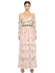 Piccione.Piccione Embellished And Printed Silk Chiffon Dress