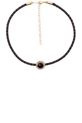 Jacquie Aiche Round Gemstone Braided Choker Black