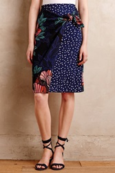 Maeve Petal Pop Wrap Skirt Blue Motif
