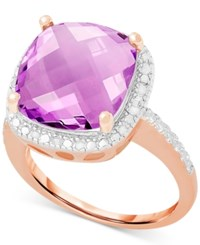 Victoria Townsend Amethyst 6 Ct. T.W. And Diamond 1 10 Ct. T.W. Ring In Sterling Silver Or 18K Rose Gold Over Sterling Silver