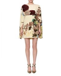 Valentino Kimono Sleeve Printed Mini Dress Milk