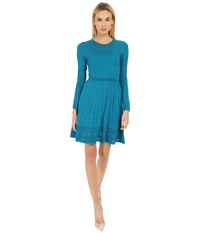 M Missoni Solid Long Sleeve Dress Teal