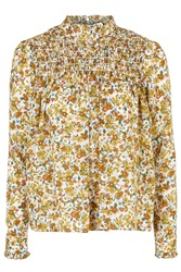 Topshop Ditsy Floral Print Ruffle Neck Blouse Mustard