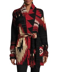 Ralph Lauren Cashmere Wool Shawl Cardigan Red Pattern