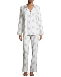 Bedhead Travel Print Classic Pajama Set White