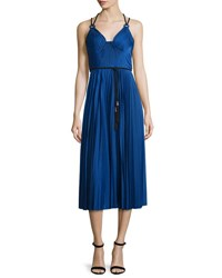 Catherine Deane Sleeveless Belted Pleated Cocktail Dress Cobalt