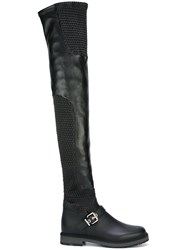 Fendi Smocked Thigh High Boots Black