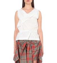 Anglomania Twisted Cotton Blouse Optic White