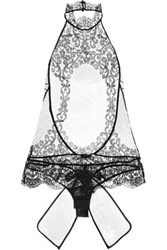 La Perla Light And Shadow Tulle And Lace Bodysuit Black