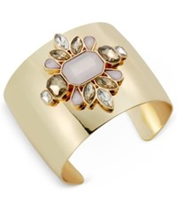 Inc International Concepts Gold Tone Pink Crystal Floral Cuff Bracelet Only At Macy's