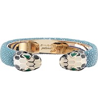 Bulgari Serpenti Forever 18Kt Gold Plated And Leather Bracelet Teal Topaz
