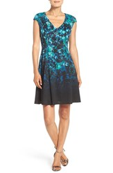 Maggy London Petite Women's Print Scuba Fit And Flare Dress Black Royal Blue