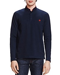 The Kooples New Shiny Pique Long Sleeve Classic Fit Polo Navy