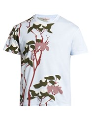 Orley Snow Flower Print Cotton T Shirt Light Blue
