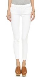 Paige Verdugo Ankle Jeans With Raw Hem Distressed Optic White