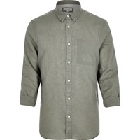 River Island Mens Green Linen Rich Shirt