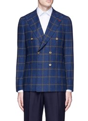 Isaia 'Cortina' Double Breasted Wool Cashmere Hopsack Blazer Multi Colour