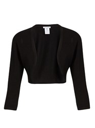Oscar De La Renta Cashmere And Silk Blend Cropped Cardigan Black