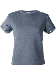 Carven Eyelet Sleeve T Shirt Grey