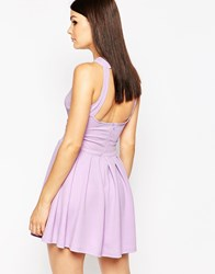Ax Paris Skater Dress With Open Back And Pleat Skirt Lilac Purple