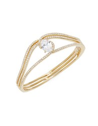Nadri Cubic Zirconia Pave And Oval Goldtone Bangle Bracelet