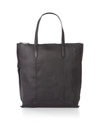Replay Waxed Denim And Leather Bag Black