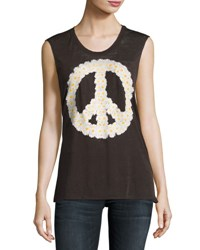 Chaser Daisy Peace Graphic Muscle Tee Black