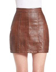 Guess Croc Embossed Faux Leather Skirt Light Brown
