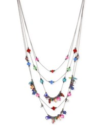 Macy's M. Haskell Hematite Tone Multi Colored Bead Layered Necklace