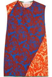 Jonathan Saunders Elisa Paneled Floral Print Crepe Top Orange