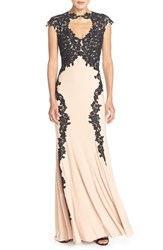 Women's Betsy And Adam Lace Applique Woven Gown Black Nude