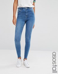 Asos Tall Ridley Skinny Jeans In Akira Bright Wash With Stepped Hem Blue
