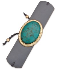 Inc International Concepts Gold Tone Turquoise Look Faux Leather Cuff Bracelet Only At Macy's Gray