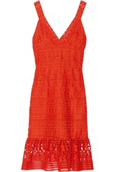 Diane Von Furstenberg Tiana Guipure Lace Dress Bright Orange