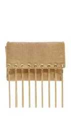Whiting And Davis Tassel Fringe Clutch Gold