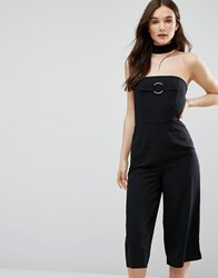 Influence Culotte Jumpsuit With Choker Black