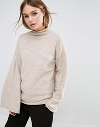 Fashion Union High Neck Knitted Jumper Wide Arm Sleeves Oatmeal Pink