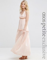 Asos Petite Exclusive Premium Beach Maxi Dress With High Neck Pink