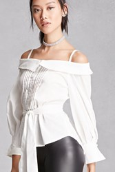 Forever 21 Pleated Open Shoulder Top White