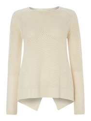 Hoss Intropia Cut Out Button Back Jumper White