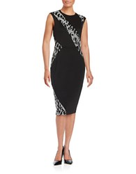 Rachel Roy Lace Accented Sheath Dress Black Silver