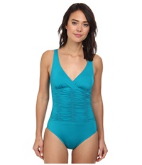 Badgley Mischka Solids Smocked Mio Peacock Women's Swimsuits One Piece Multi