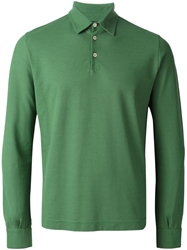 Zanone Long Sleeve Polo Shirt Green